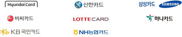 현대카드, 신한카드, 삼성카드, 비씨카드, 롯데카드, 하나카드, KB국민카드